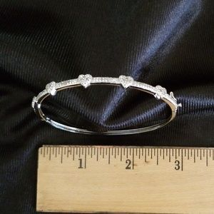 Jewelry - Precious silvertone and crystal bangle bracelet.